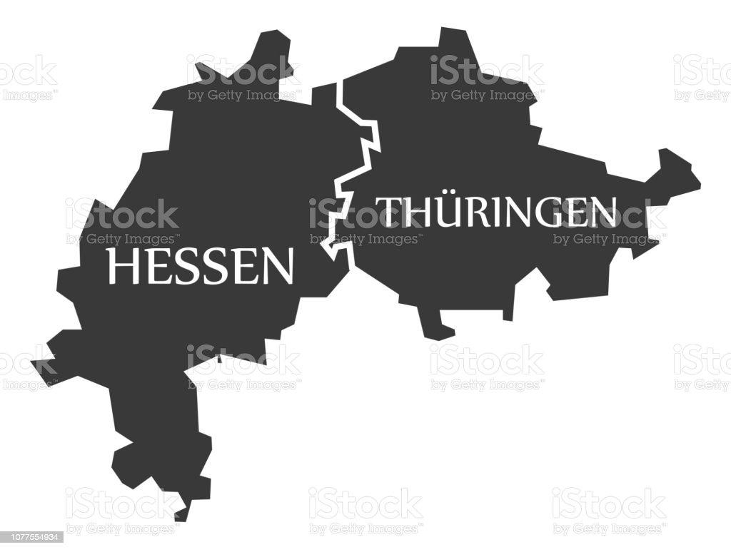 Carte Allemagne Thuringe.Hesse Thuringe Federal Declare Carte Dallemagne Noir Avec Des Titres