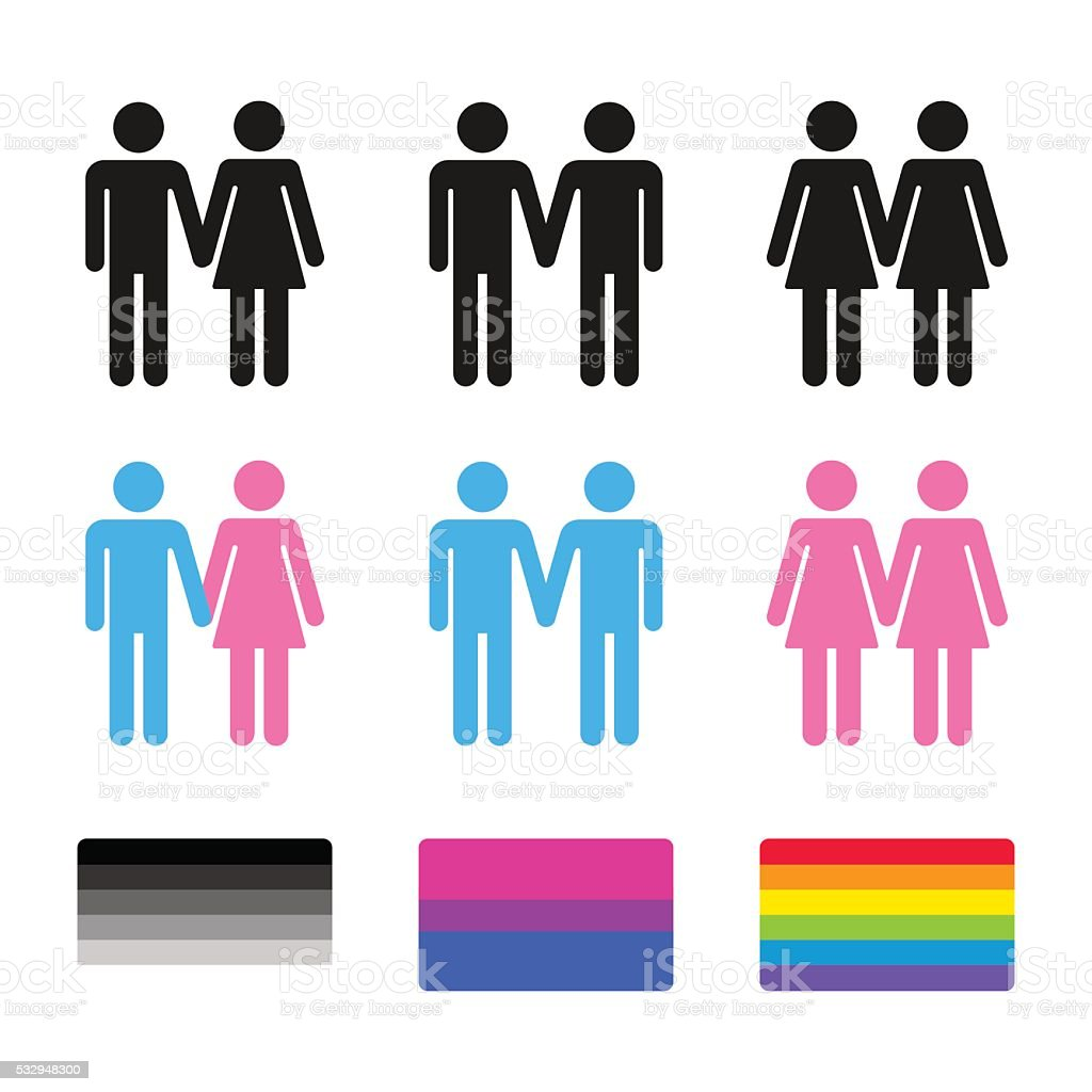 Heterosexual and homosexual couples with flags vector art illustration