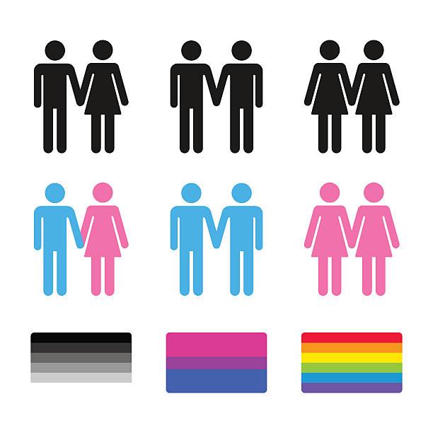 ilustrações, clipart, desenhos animados e ícones de heterossexuais e para os casais homossexuais com bandeiras - casais do mesmo sexo