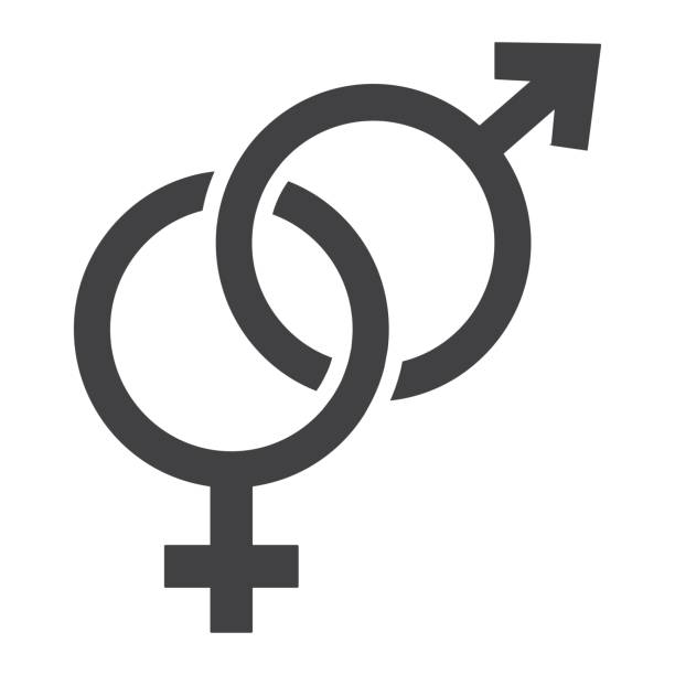 heterosexual glyph icon, valentines day and romantic, gender sign vector graphics, a solid pattern on a white background, eps 10. - venus stock illustrations