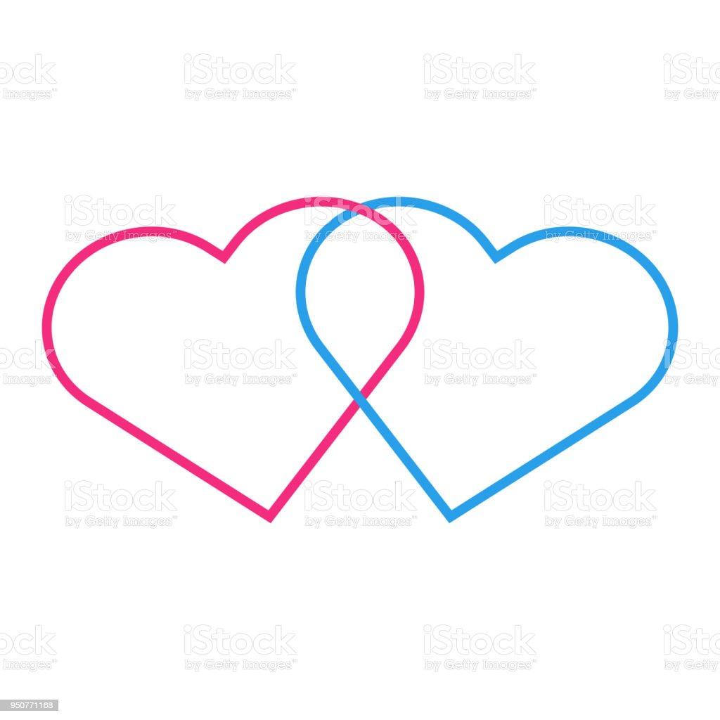 Heterosexual Love Glyph Two Interlocked Female And Male Hearts