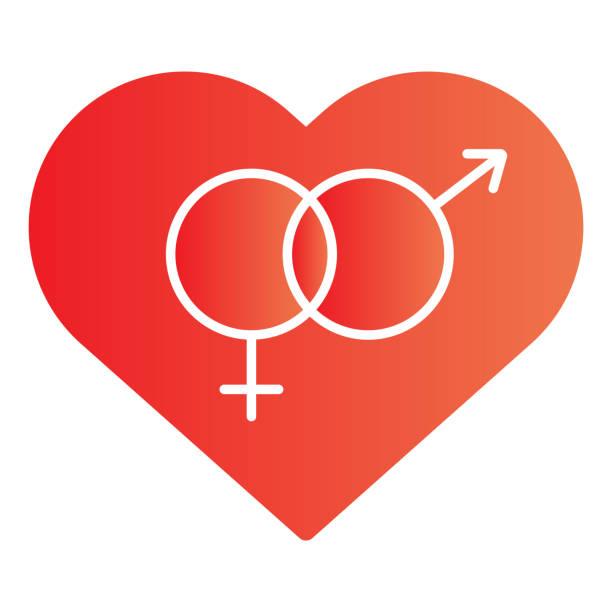 stockillustraties, clipart, cartoons en iconen met heteroseksueel symbool in het vlakke pictogram van het hart. romantische hetero hart symboolillustratie die op wit wordt geïsoleerd. hartvormige hetero relatie gradiënt stijl ontwerp, ontworpen voor web en app. eps 10. - flirten