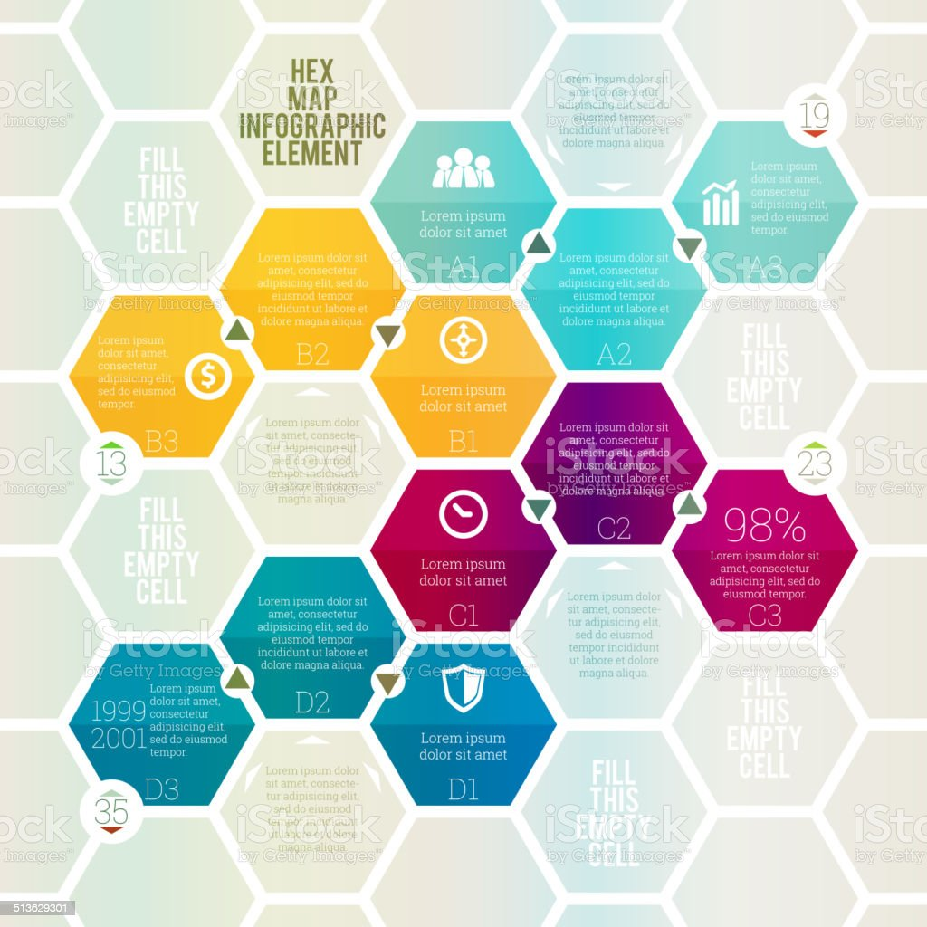 Hex Map Infographic vector art illustration