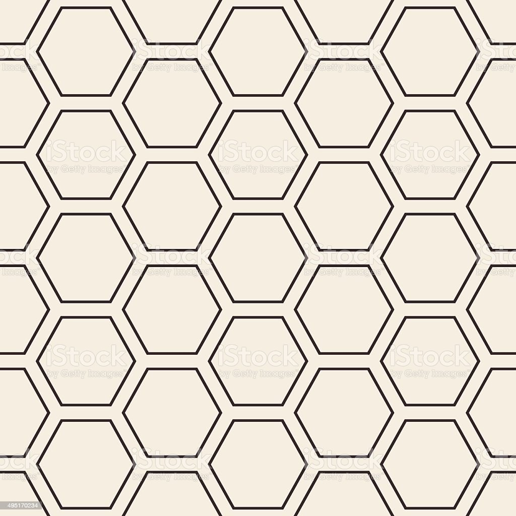 Hex stripped grid seamless pattern vector art illustration