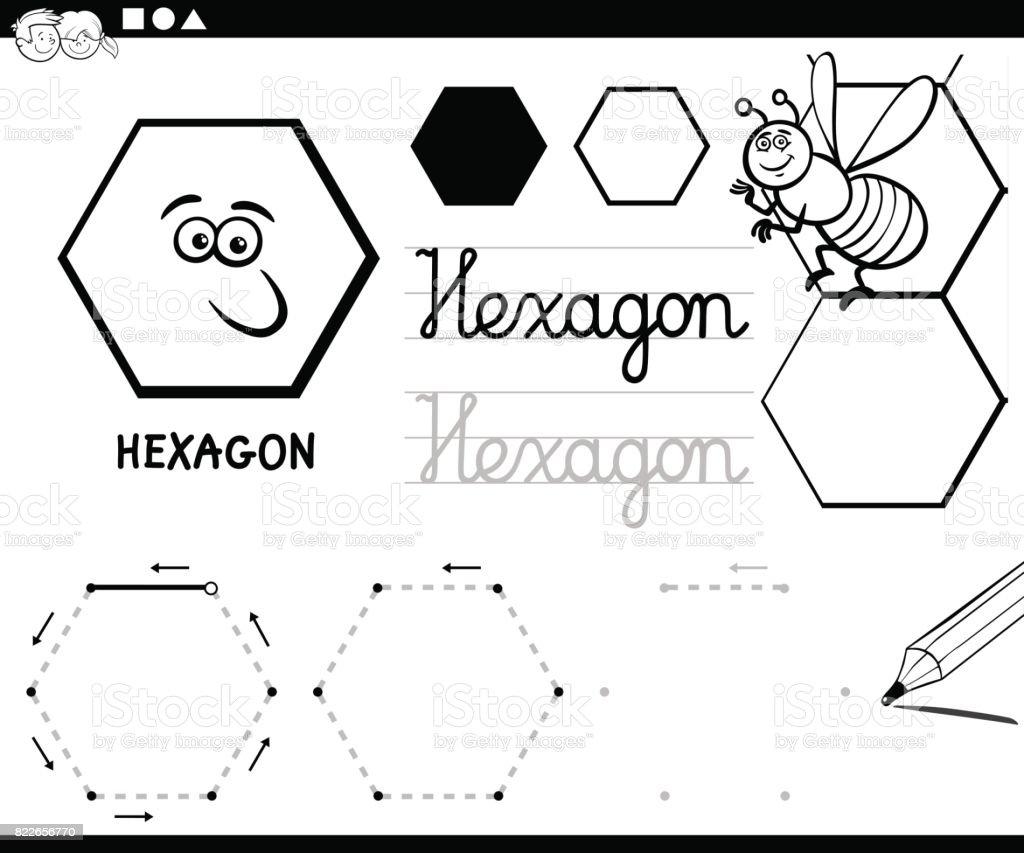 Altıgen Temel Geometrik şekiller Sayfa Boyama Stok Vektör Sanatı
