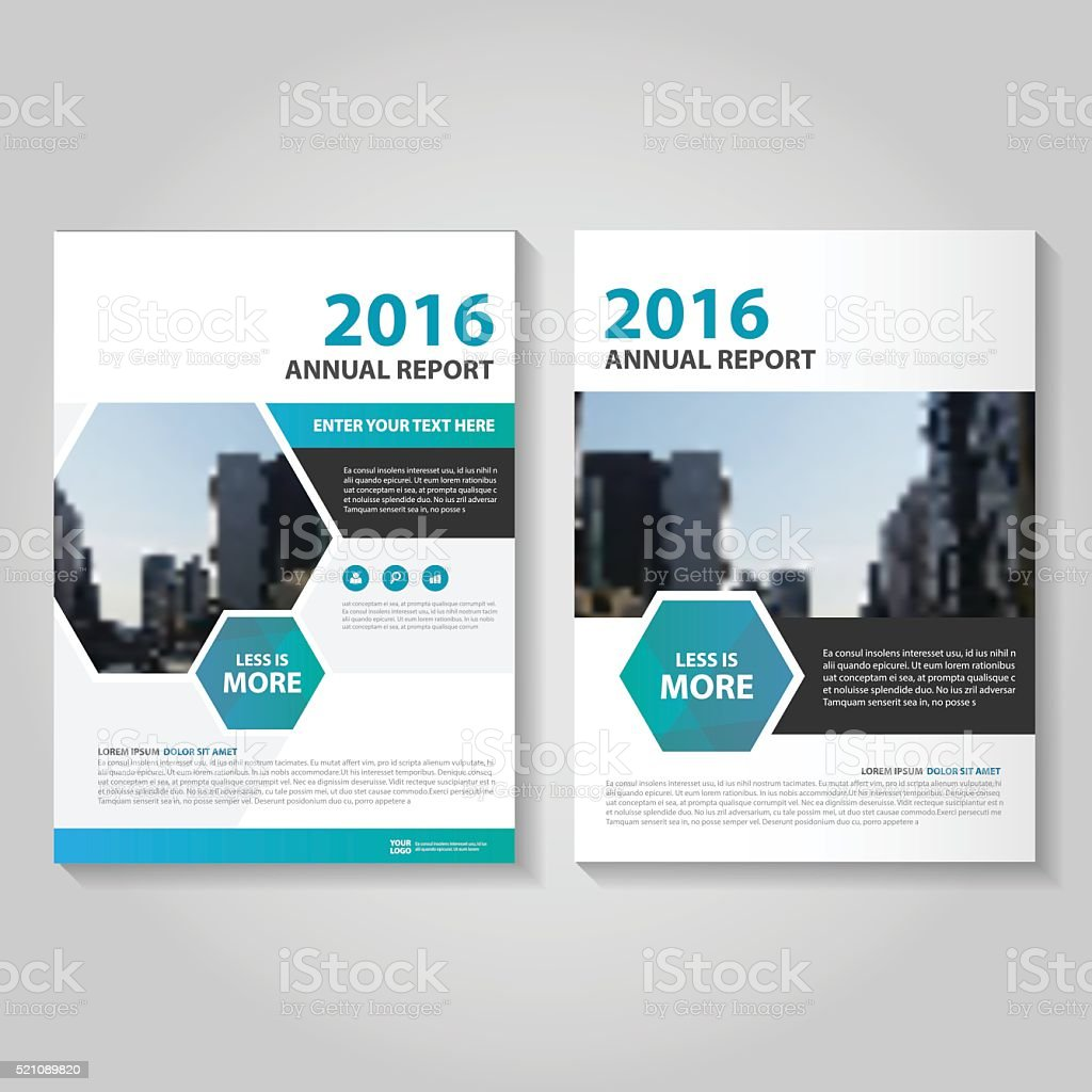 Hexagon Blue Green Vector Annual Report Leaflet Brochure Flyer Template ...