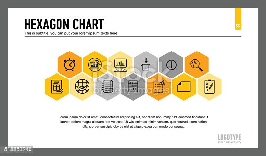 Editable template of presentation slide representing hexagon chart with thirteen hexagons, multicolored version