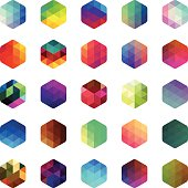 Multi coloured hexagon mosaic buttons. Isolated on white. Eps8.