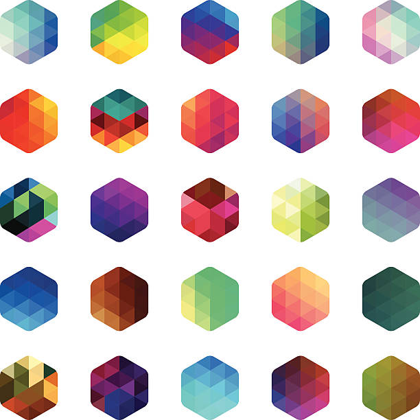 Hexagon colourful mosaic buttons Multi coloured hexagon mosaic buttons. Isolated on white. Eps8. hexagon stock illustrations