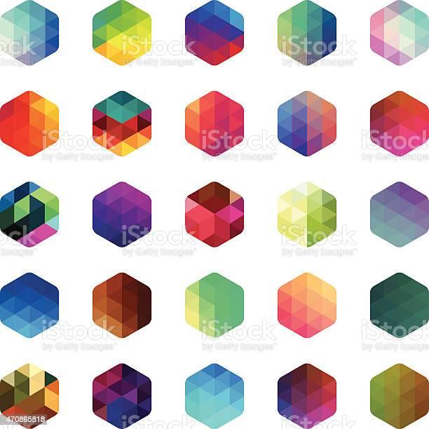 Ilustración de Hexagonal Colorido Mosaico Botones y más Vectores Libres de Derechos de 2015