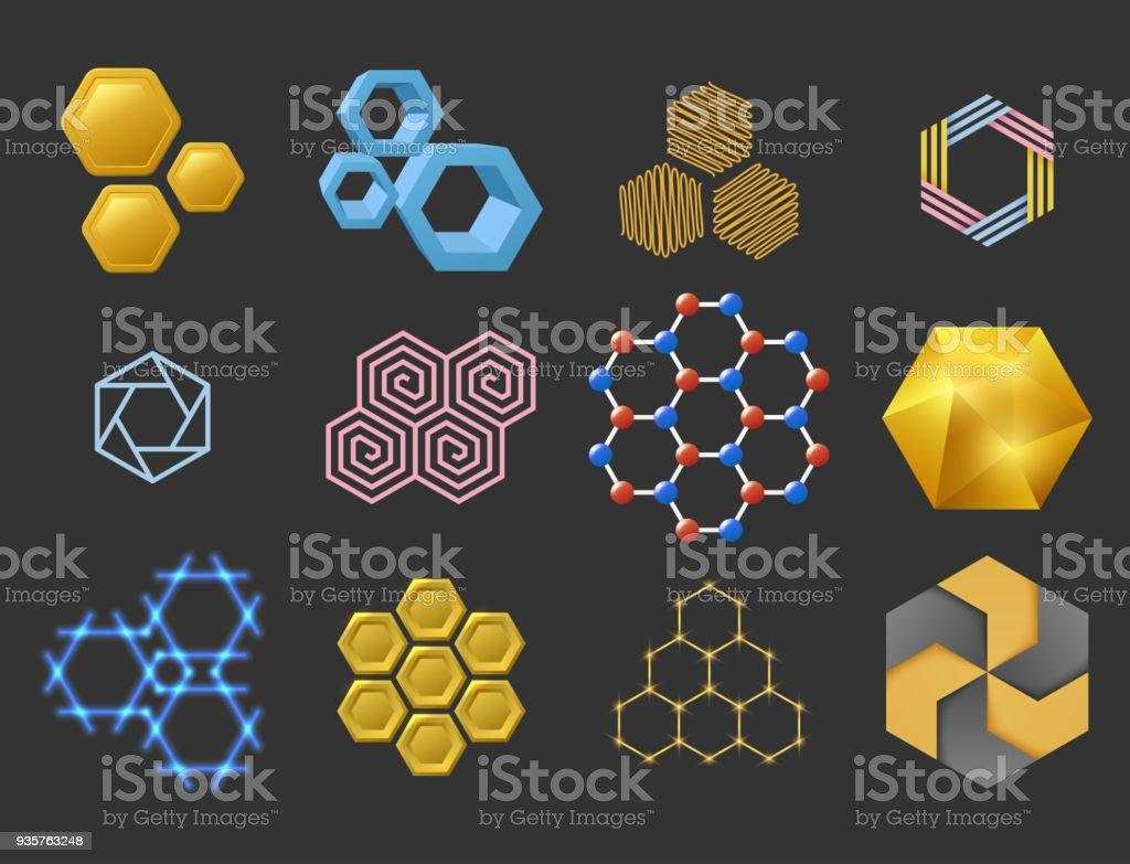 Conception d'hexagone sot d'éléments géométriques abstraites géométriques commerciales modernes technologies vector illustration - Illustration vectorielle