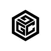 alphabet initial logo hexagon shape vector template illustration