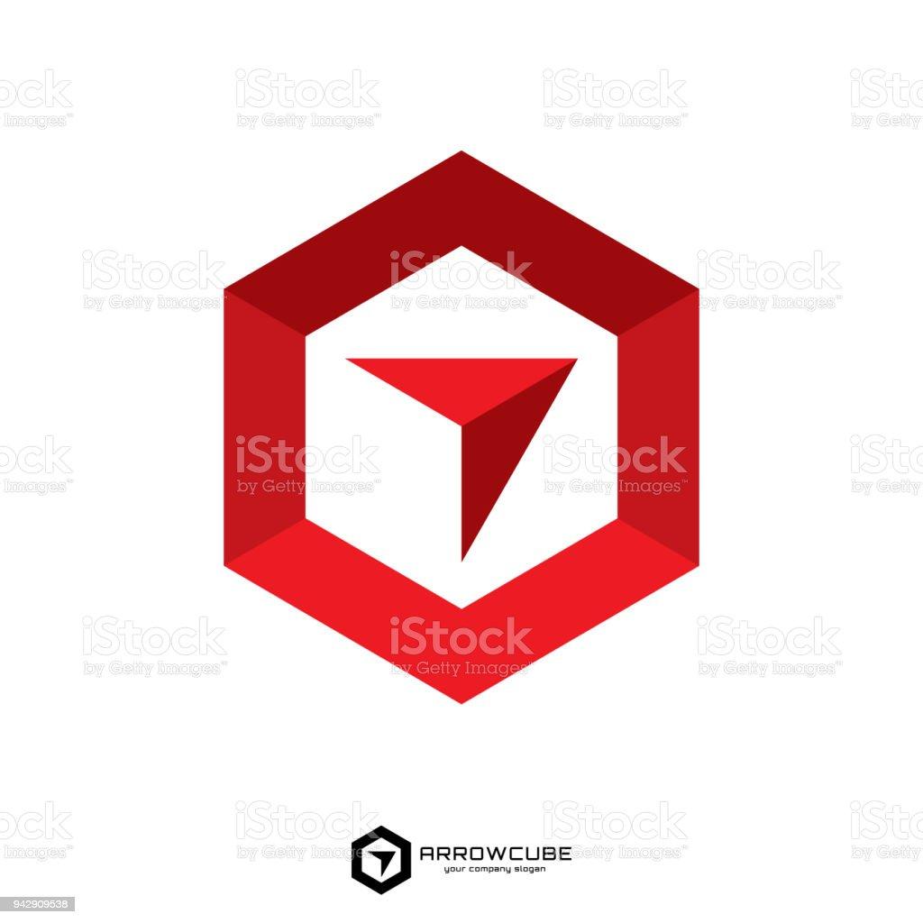 Ilustración de Hexagonal Caja Hacia Delante Con La Flecha Plantilla ...