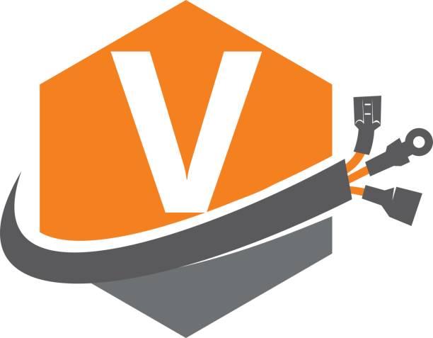 Hexagone mondiale d'électricité lettre V - Illustration vectorielle