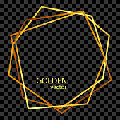 Hexagon Gold Foil Frame Isolated Background. Geometric Golden Frame Invitation Card Template. Gold Geometrical Polyhedron, Line Art. Vector Gold Border Design Element for Birthday, New Year, Christmas Card, Wedding Invitation.