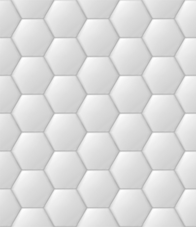 Hexagon hive, futuristic padded wall, quilted texture, vector seamless pattern, realistic 3d background, golf theme inspired ornament, kitchen tile template.