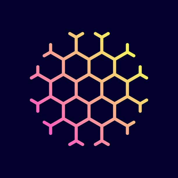 Hexagon honeycomb icon. Vector illustration in flat line style. Hexagon honeycomb icon. Vector illustration in flat line style. beehive stock illustrations