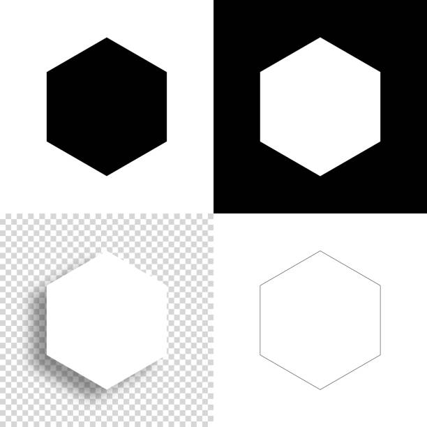 Hexagon. Icon for design. Blank, white and black backgrounds - Line icon vector art illustration