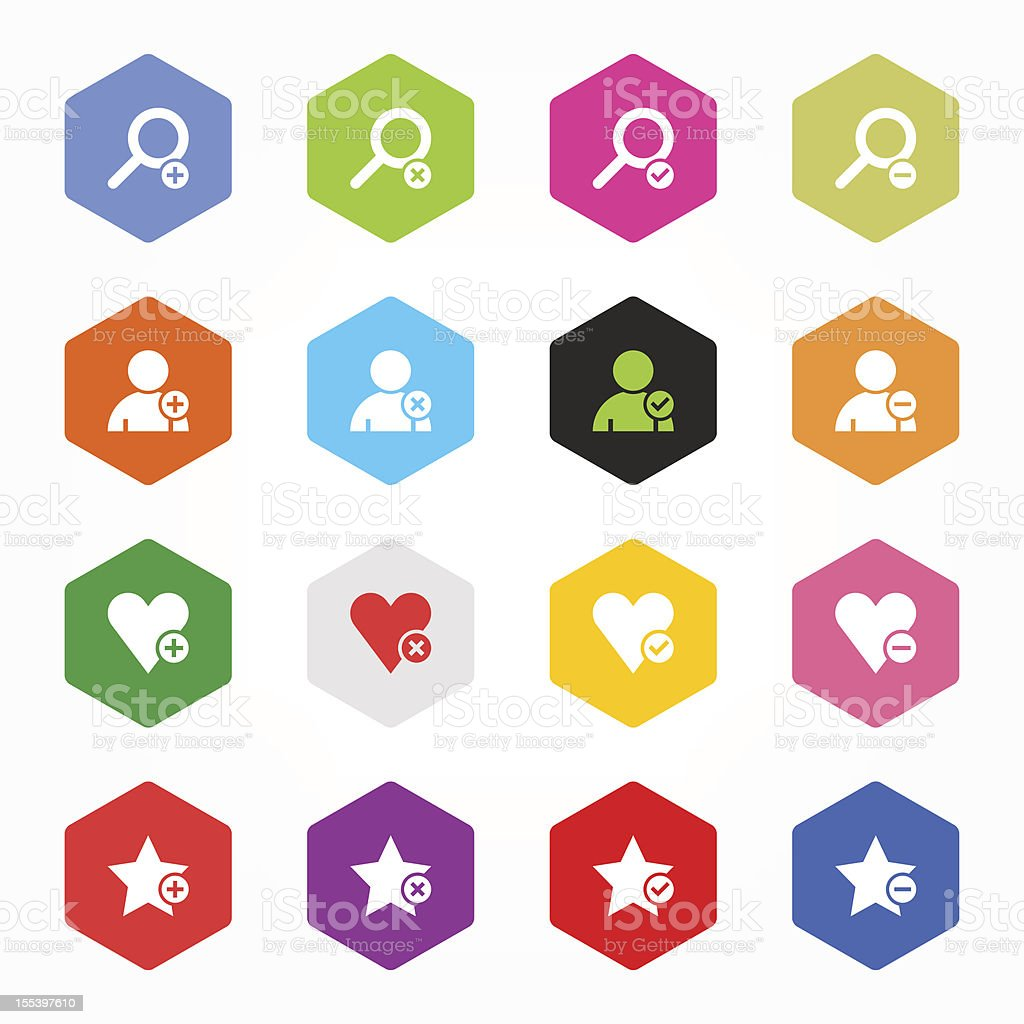 Hexagon icon with loupe, user, heart, star signs colored buttons royalty-free stock vector art