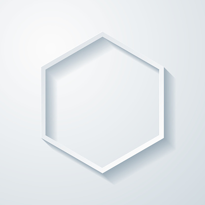 Hexagon. Icon with paper cut effect on blank background