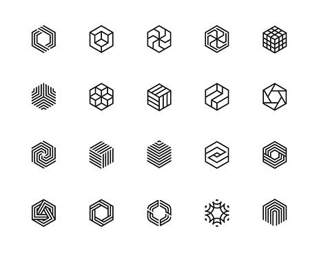 Hexagon icons PF