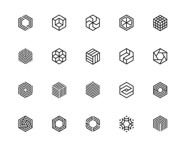 Hexagon icons PF Geometric Shape, Hexagon, Six, Logo, Design Concept, Creative Symbol, High Quality, Icon, Vector and Illustration hexagon stock illustrations