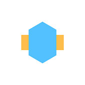 hexagon, label, badge icon. Element of material arrow symbol icon for mobile concept and web apps. Color hexagon, label, badge icon can be used for web and mobile on white background