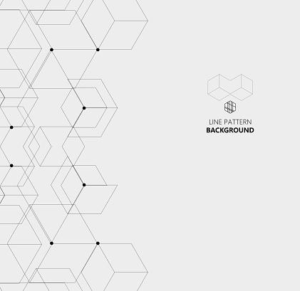 hexagon line structure pattern background