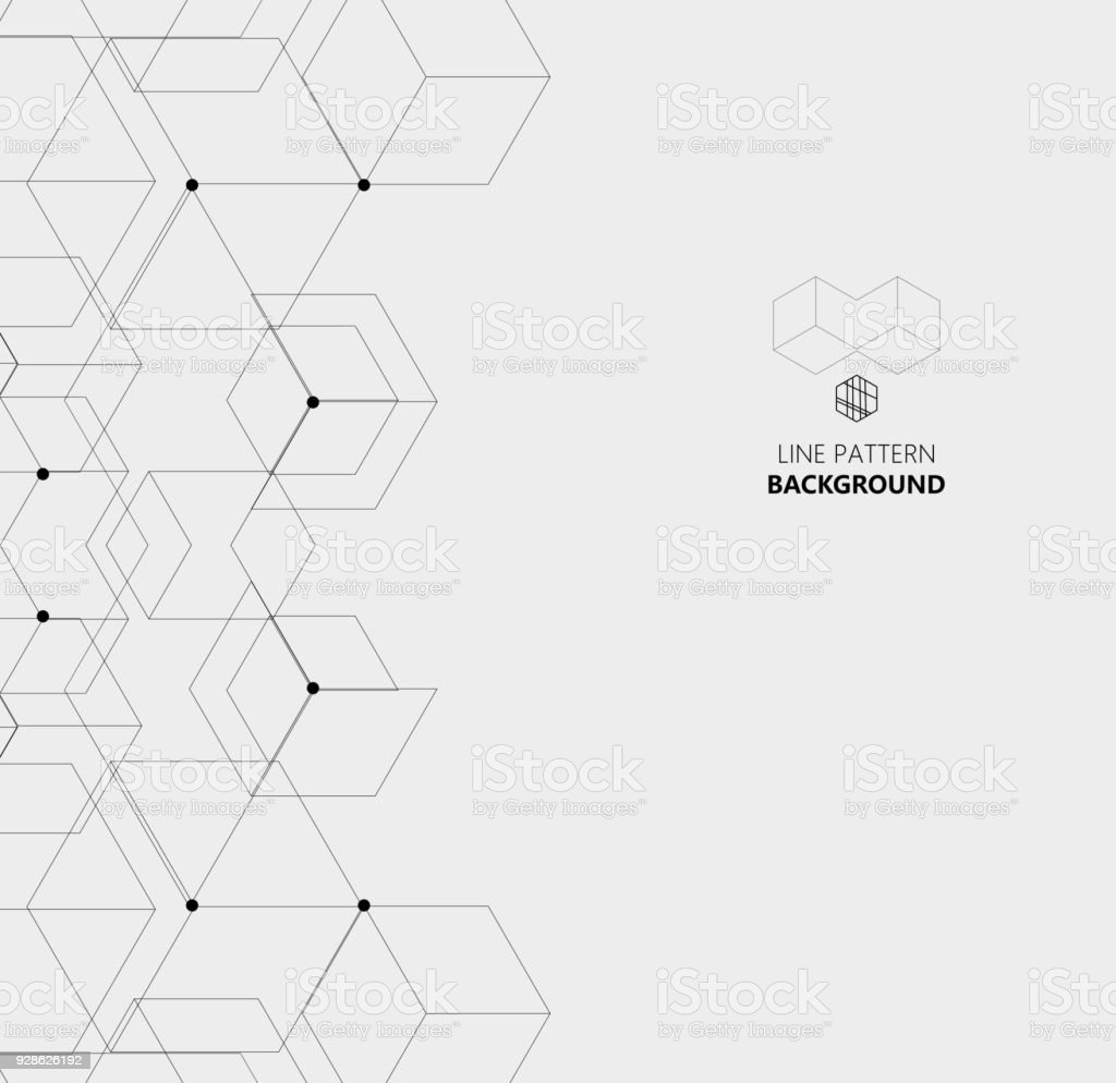 hexagon line structure pattern background vector art illustration