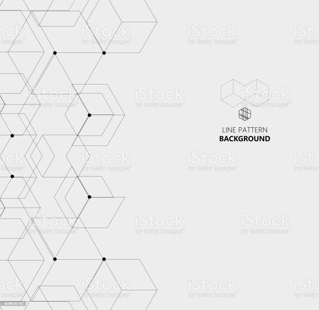 hexagon line structure pattern background vector art illustration