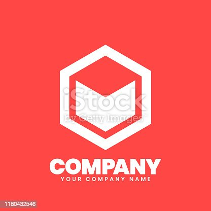 istock Hexagon Logo sign 1180432546