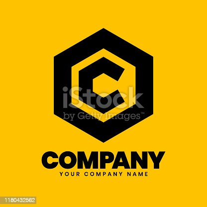 C and Hexagonal Logo sign