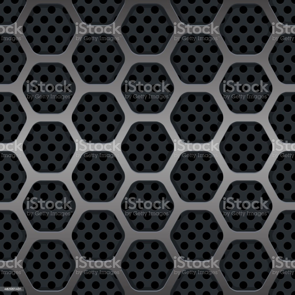 Hexagon Metal Grill Seamless Background. Vector vector art illustration