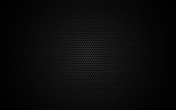 sześciokątna metalowa siatka. ciemna tekstura siatki. geometryczny design z cieniem i światłem. tło przemysłowe z komórkami. nowoczesne futurystyczne tło dla internetu, plakatu, broszury. ilustracja wektorowa - metal stock illustrations