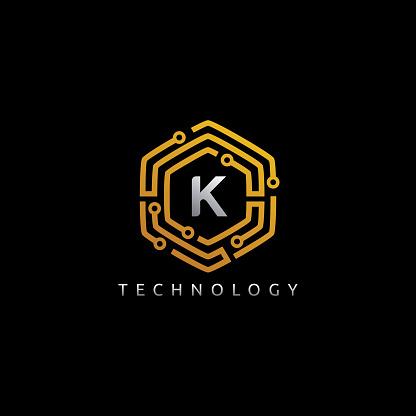 Hexagon Network K Letter Icon Design Vector.