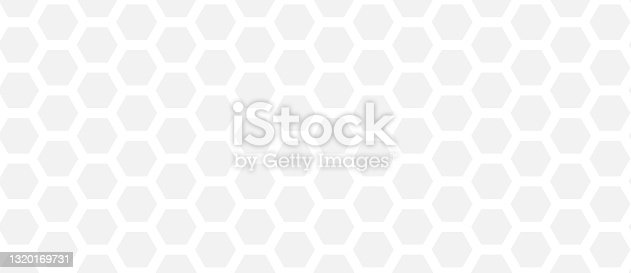 istock hexagon pattern. Seamless background. Abstract honeycomb background in grey color. Vector illustration 1320169731