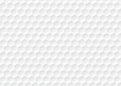 Hexagon seamless pattern. Golf ball texture. White honeycomb background.