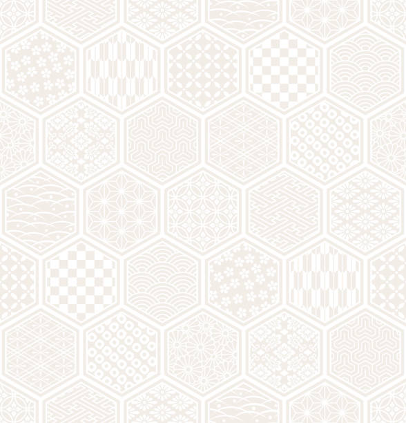 hexagon seamless pattern with Japanese traditional design. pattern of Japanese traditional illustration. japanese culture stock illustrations