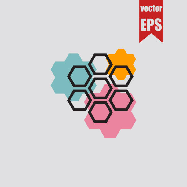 sechseck-shape-symbol. vektor-illustration. - bienenwachs stock-grafiken, -clipart, -cartoons und -symbole