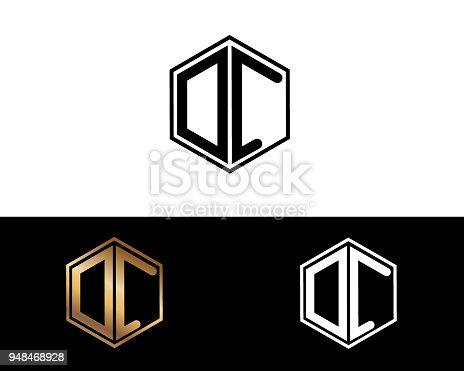 hexagon shape gold black silver modern creative letter design