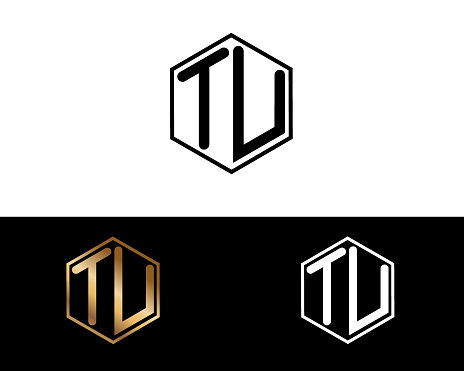 TU hexagon shape letters Design