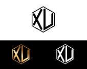 XV hexagon shape letters Design