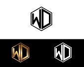 WD hexagon shape letters Design