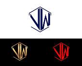 VW hexagon shape letters Design