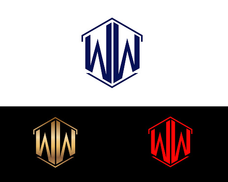 Ww Hexagon Shape Letters Design Stock Illustration ...