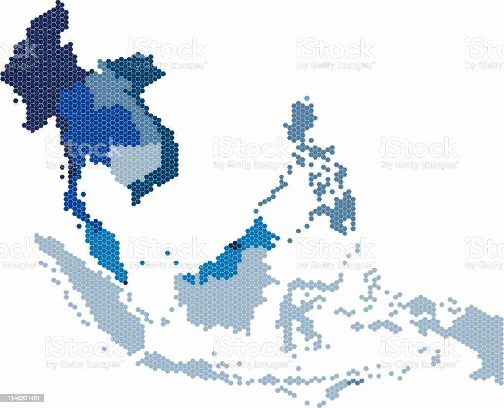 Picture of: Hexagon Shape South East Asia And Nearby Countries Map Stock Illustration Download Image Now Istock