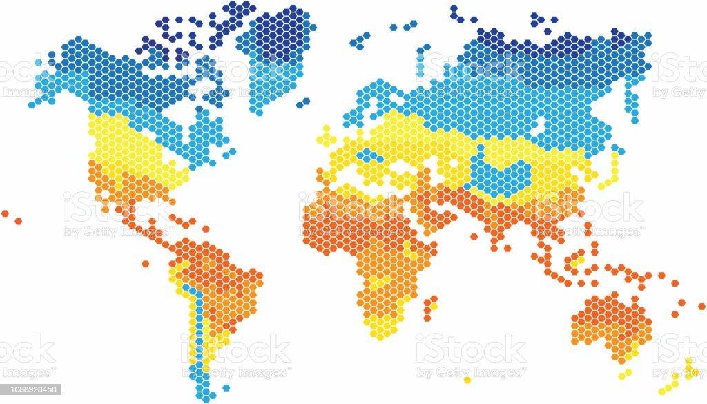 Carte Du Monde Zone Tempere.Carte Du Monde Forme Hexagone Dans Diverses Couleurs Par La