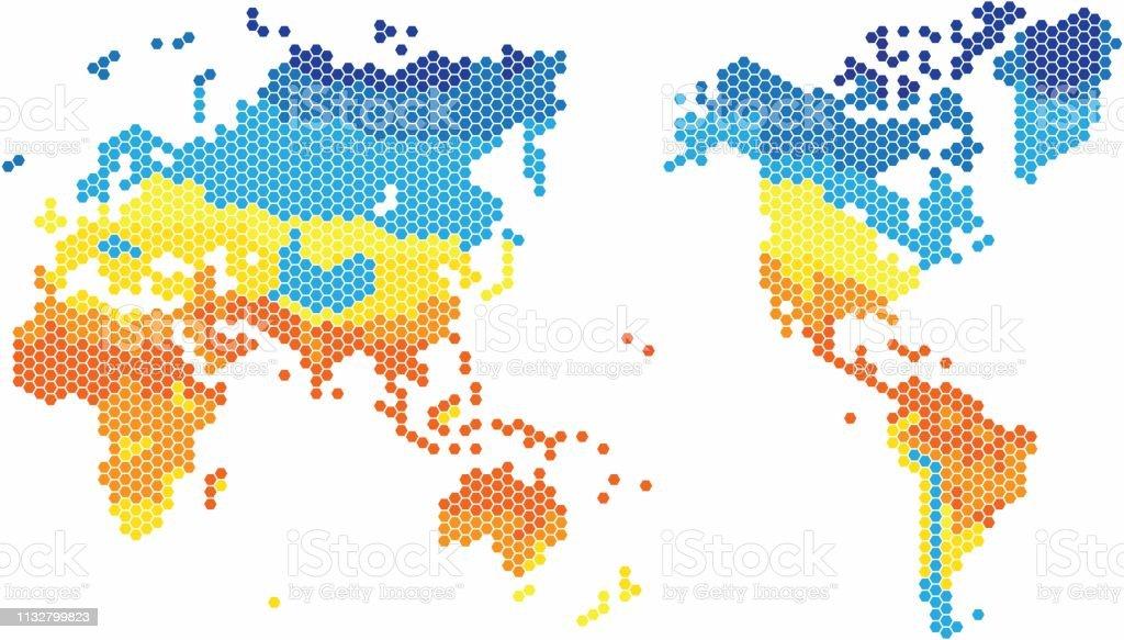 Carte Du Monde Zone Tempere.Carte Du Monde De Forme Hexagone En Differentes Couleurs Par