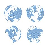 Hexagon shape world map on the gradient white background, vector illustration.
