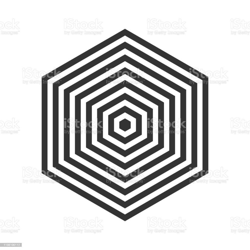 Hexagon logo or cube with optical illusion or geometric stripes...